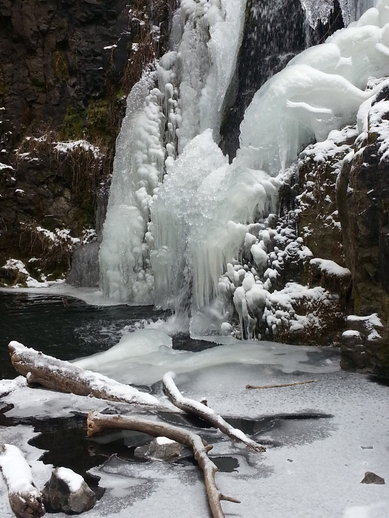A frozen waterfall.